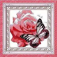 フルレンジの刺繡スターターキット-花と蝶-クロスステッチスタンプキット初心者から子供向けのクロスステッチパターン大人のDIY手刺繡キット(11CT印刷済み)