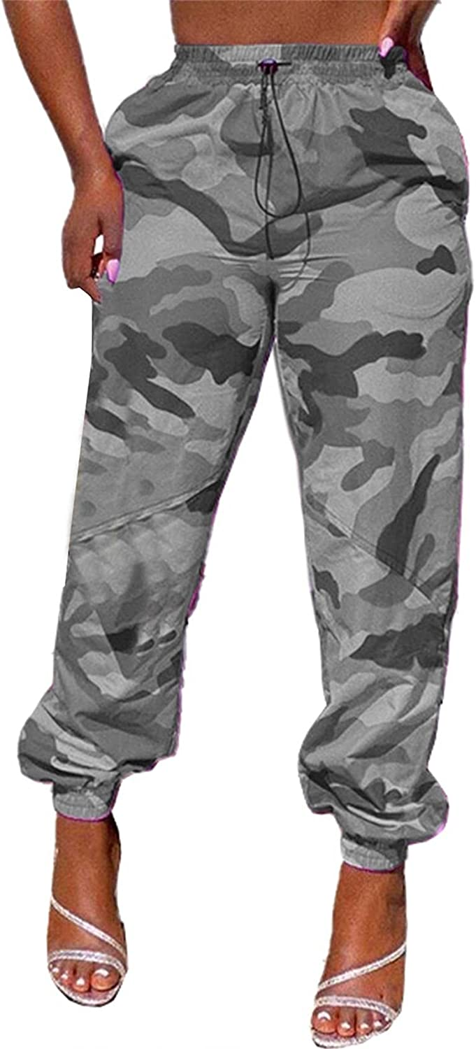 Women's High Waist Relaxed Fit Straight Jogger Lounge Cargo Trousers Camo Pants with Drawstring