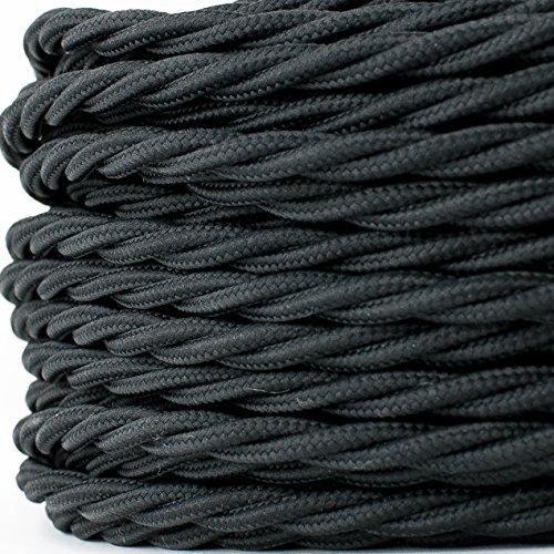 Textilkabel für Lampe, Stoffkabel, verseilt, zweiadrig 2x0,75mm², schwarz - 3 Meter