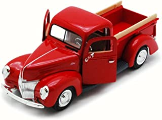 Motor Max 1940 Ford Pick Up truck, Red 73234 - 1/24 Scale Diecast Model Toy Car