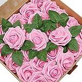 CattleyaHQ 25 Piezas de Flor Artificial Rosa,Flores de Rosa de Tacto Real, decoración romántica de la Mesa de la Cena del Banquete de Boda, Guirnalda o Ramillete de Bricolaje (Rosado)