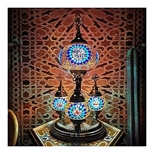 Lámpara De Mesa Romántica Turca, Cristal De Mosaico Exótico Retro E14 Luz De Noche, Restaurante Hotel Dormitorio LED Life Life Decoration Light (Color : Blue)