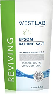 Westlab Pure, Unscented Epsom Salts (1 Pack Resealable Bag 2.2 lb) Natural USP Grade Magnesium Sulfate. Soothes Aching Muscles. Use after Sports and Post-Workout. Foot Soaking & Relaxation