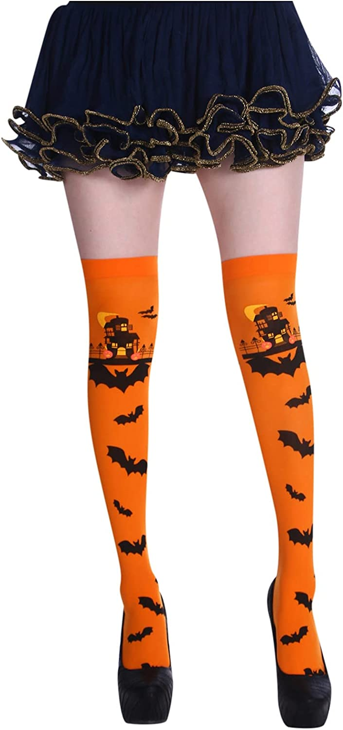 GXLONG Women's Over The Knee Cartoon At Albuquerque Mall the price of surprise Socks Halloween Bat Printed