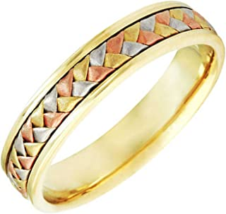18K Tri Color Gold Braided Basket Weave Women's Comfort Fit Wedding Band (5.5mm)