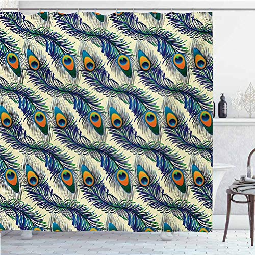 Peacock Shower Curtain rods Exotic Peacock Feathers Pattern Vintage Style Ornamental Details Image Super Soft, Easy Care Navy Blue Green Orange W60 x L72 Inch