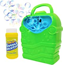 WhizBuilders Bubble Machine with Bubbles Solution Durable Bubble Blower for Boys and Girls – Indoor and Outdoor Bubble Maker for Kids