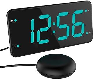 ساعت زنگ دار بلند با صدای تختخواب دار ، لرزش زنگ لرزشی برای خواب آوران سنگین ، ناشنوا و سخت شنوایی ، ساعت زنگ دار دوتایی ، 2 پورت شارژر ، نمایشگر 7 اینچی ، دزدگیر کامل و پشتیبان باتری - سبز