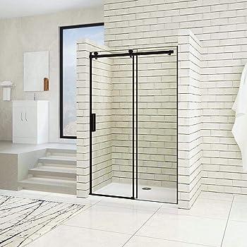 VAROBATH .Mampara de ducha con apertura frontal de puerta corredera, perfil NEGRO y cristal transparente con 6 mm de grosor. Disponible en varias medidas (117 a 126): Amazon.es: Bricolaje y herramientas