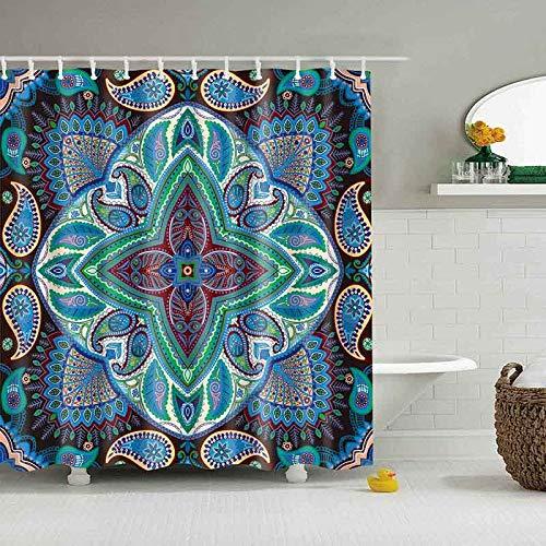XCBN Mandala Shower Curtain Flower Printed Geometric Bathroom Curtains Shower Wall Hanging Geometric Shower Curtains A14 150x180cm