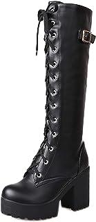 Nonbrand TAONEEF Women Fashion Platform Knee High Boots Block Heels Long Boots Lace Up Winter Shoes High Heel Knee Boots B...