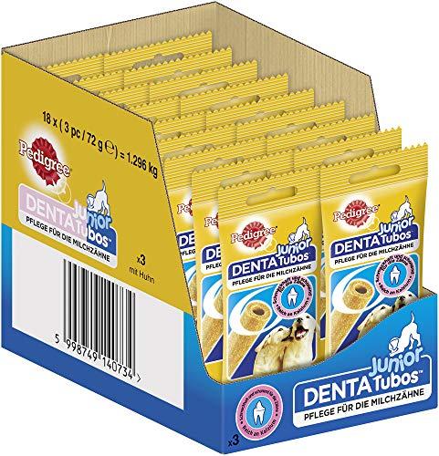 Pedigree Junior Hundesnack Dentatubos für die Milchzähne, reich an Kalzium, 54 Stück (18 x 3 Stück)