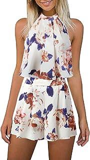 215e356917cb LitBud Women s Floral Printed Summer Dress Romper Jumpsuits Playsuit Set  Boho Beach 2 PCS Outfits Top
