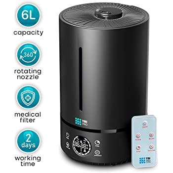 HUMIDIMASTER 6L Ultrasonic Humidifier with Top-Fill, 360° Nozzle for Home Large Room, Bedroom, Office, Travel, Babies - Easy to Clean Humidifiers Anti-Leak System, Auto Shut-Off, Black