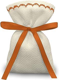 Crociedelizie, Stock 25 sacchetti bomboniere portaconfetti segnaposto in tela aida ecrù da ricamare a punto croce
