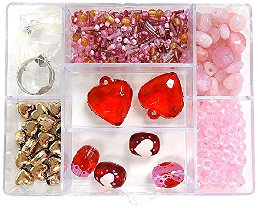 Linpeng Bead Box with FREE spacers and charms, Heart Red/Pink Glass