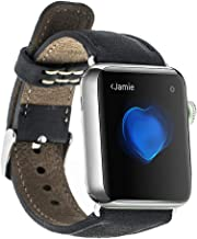 Leather Watch Band for Apple iWatch Series 5 as Well as 1,2,3,and 4 - with Metal Clasp and Connectors (Black, 42mm-44mm)