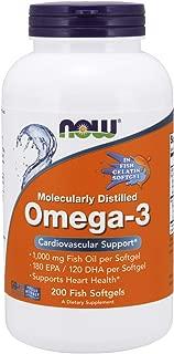NOW Supplements, Omega-3 180 EPA / 120 DHA, Molecularly Distilled, Cardiovascular Support*, 200-Fish Gelatin Softgels