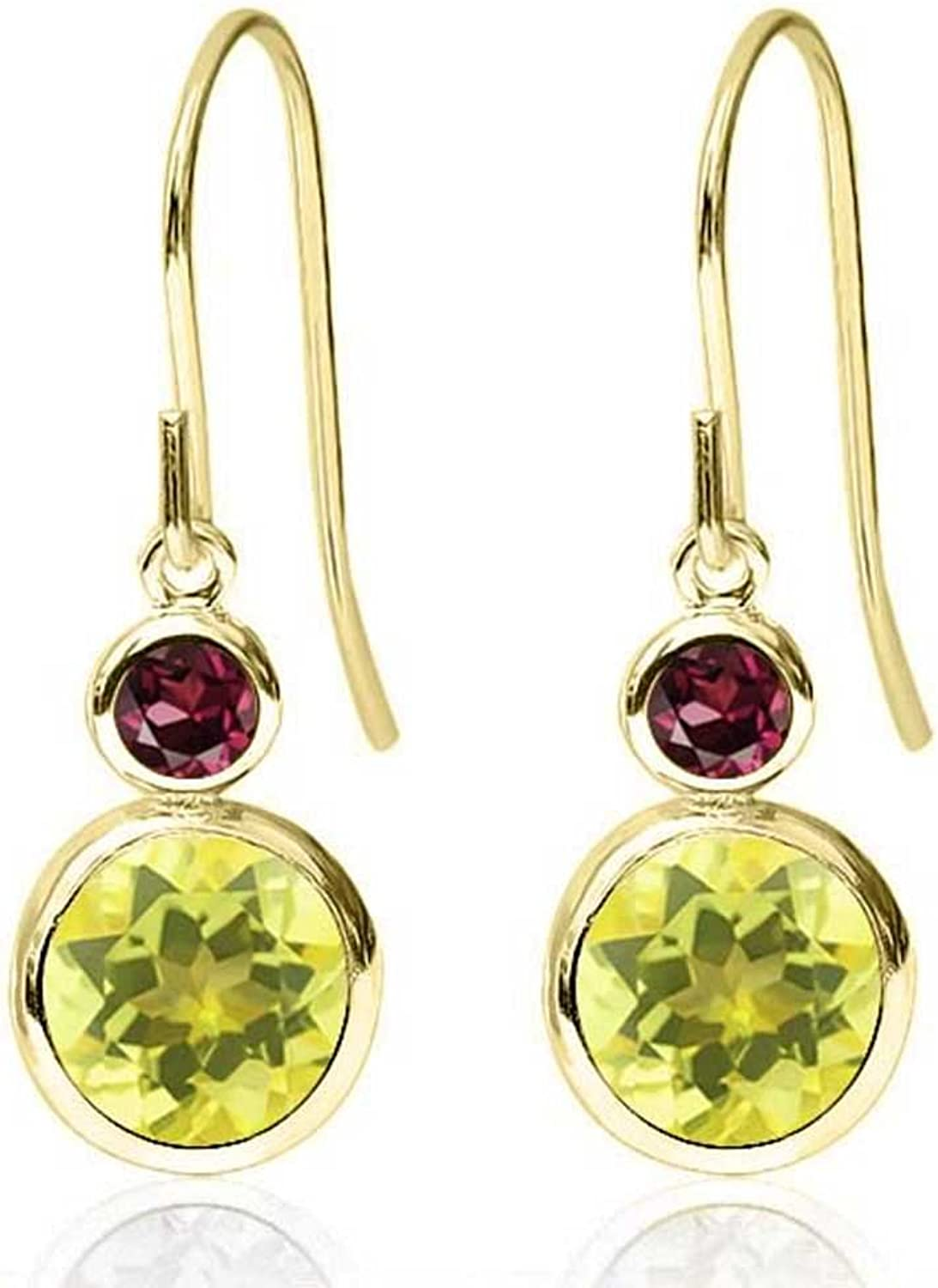 2.24 Ct Round Canary Mystic Topaz Red Rhodolite Garnet 14K Yellow gold Earrings