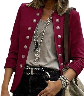 Women's Bomber Jacket Retro Double Breasted Blazer Coats Outwear