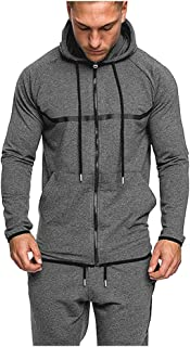 TTOOHHH Men's Casual Pure Color Long Sleeve Zipper Sweatshirt Pullovers Hoodies Tops Outwear