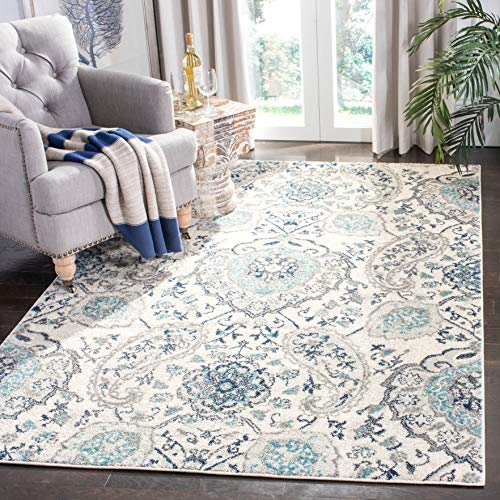 Safavieh Madison Collection MAD600C Bohemian Chic Glam Paisley Area Rug, 3' x 5', Cream/Light Grey