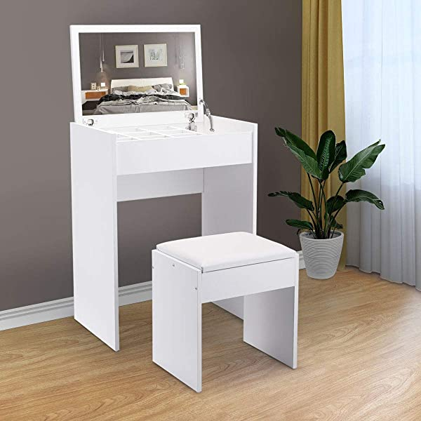 BWM Co Dressing Makeup Vanity Table Set With Storage Compartment Fashion Stool And Mirror White