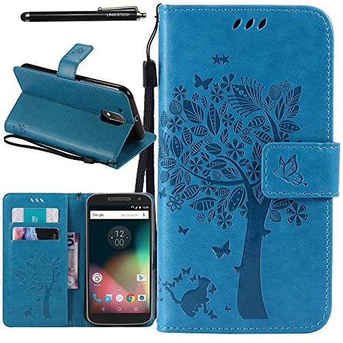 Moto G4 Case, Moto G4 Plus Case, Linkertech [Kickstand Feature] PU Leather Wallet Flip Pouch Case Cover with Wrist Strap & Card Slots for Moto G (4th Generation) / G4 Plus (Blue)