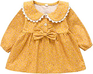 Xifamniy Infant Girls Skirt Garden Wind Floral Bow Long Sleeve Doll Collar Baby Dress Yellow