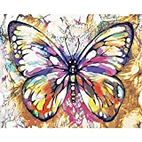 Z Paint by Numbers Animales con pinceles y pigmento acrílico DIY lienzo pintado a mano para adultos principiantes, decoración del hogar, dormitorio – mariposa 16 x 20 pulgadas (sin marco)