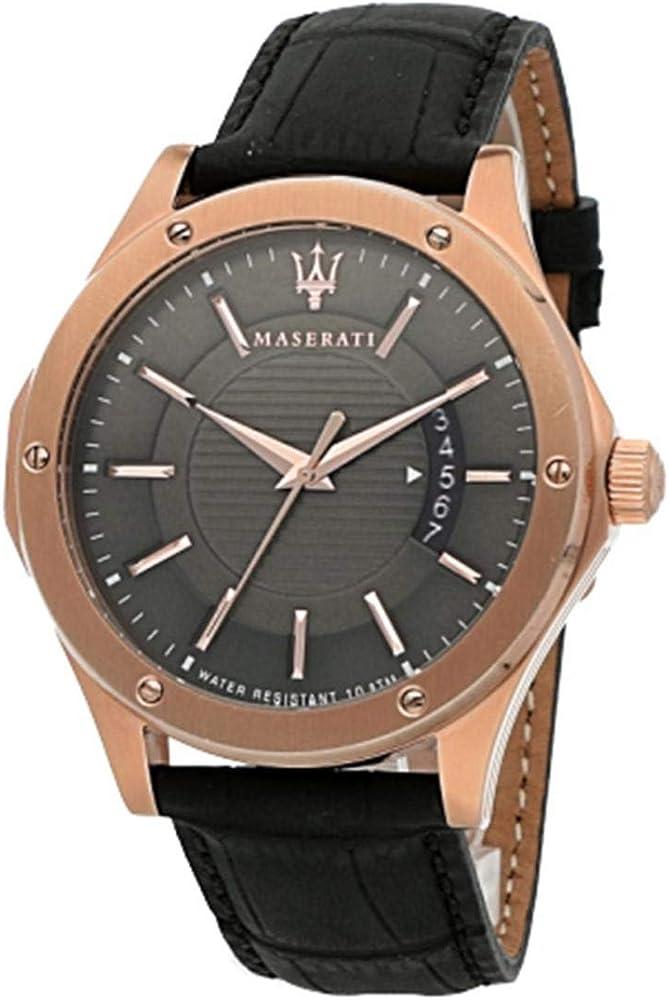 Maserati orologio da uomo, collezione circuito, in acciaio, pvd oro rosa E cuoio 8033288766629