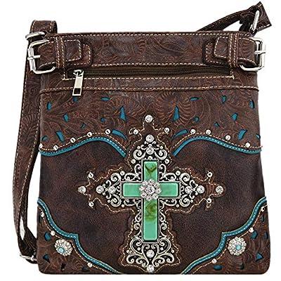 Western Rhinestone Cross Tooled Leather Concealed Carry Purse Crossbody Handbag Women Single Shoulder Bag (Brown)