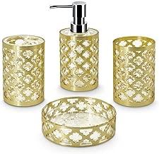 Freelance 4 Piece Jewel Polystyrene Bathroom Accessories, Gold