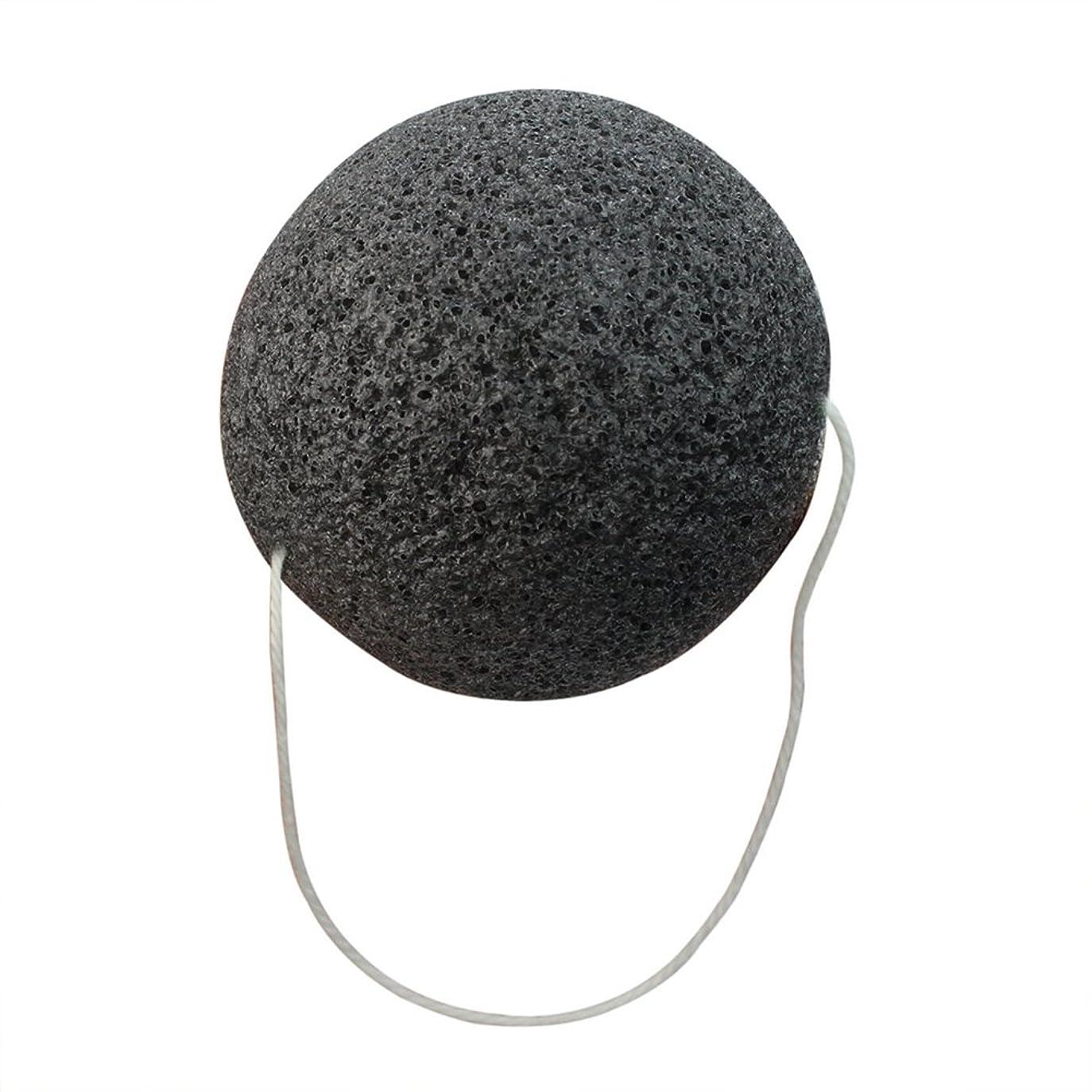 ボルトラグ公然とReFaXi  こんにゃく 天然  フェイススポンジ 海綿 洗顔パフ ブラック