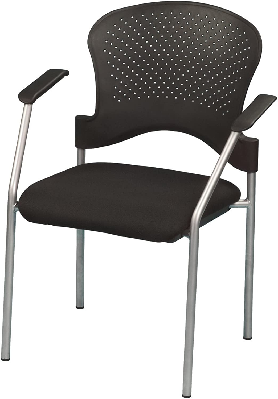 Euredech Seating FS8277 Breeze Side Chair, Grey Frame, Black Seat