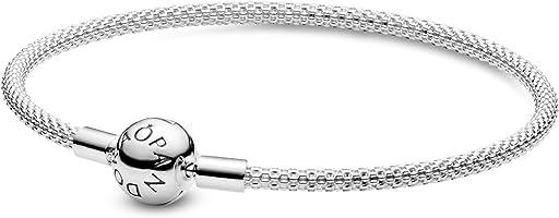 Pandora Jewelry Moments Mesh Charm Sterling Silver Bracelet
