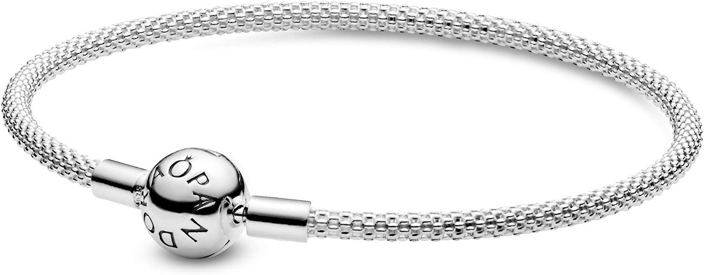 "Pandora Jewelry Moments Mesh Charm Sterling Silver Bracelet, 7.5"": Jewelry"