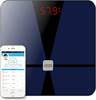 Bluetooth Body Fat Scale, Dr.meter Digital Bathroom Weight Scale with iOS and Android App, Body Composition Analyzer Health Monitor with Sensitive ITO Conductive Tempered Glass Surface-Elegant Black