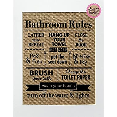 8x10 UNFRAMED Bathroom Rules / Burlap Print Sign / Rustic Country Shabby Chic Vintage Decor Sign Children's Room Bathroom Decor Sign