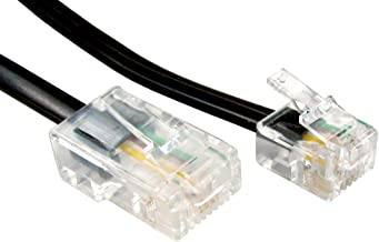 kenable RJ11 Male Plug to 4 Wire RJ45 Male Plug Flat Cable Lead 10m (~33 feet) Black