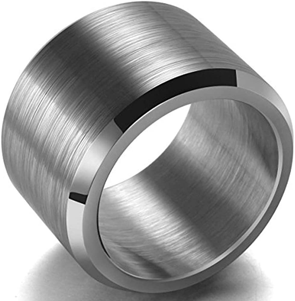 Kingray Jewelry 15mm Classical Plain Stainless Steel Wedding Band Ring for Statement Biker Anniversary Party Christmas