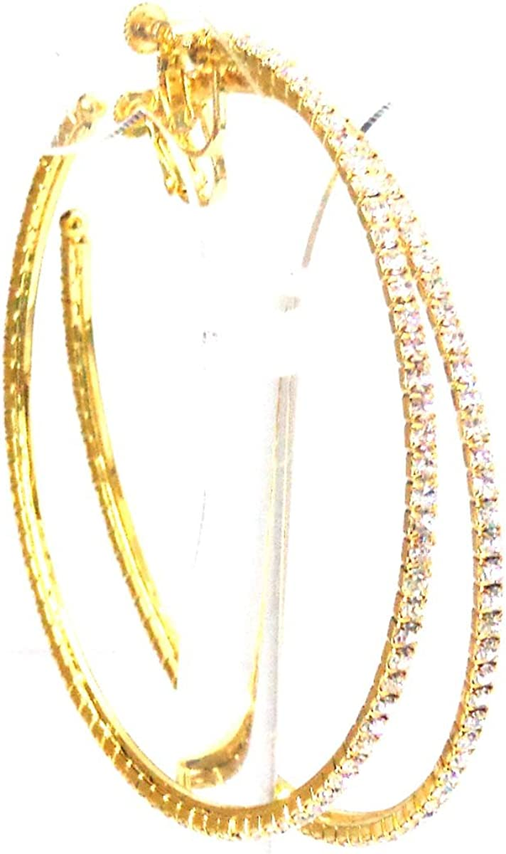 Clip-on Earrings Gold Hoop Earrings Rhinestone Crystal Hoops 3 inch Hoops
