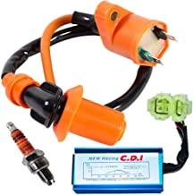 GY6 Ignition Coil for High Performance Racing 50cc 150cc 125cc ATV Moped Scooter Go Kart with 6 Pin CDI 3 Electrode Spark Plug by TOPEMAI