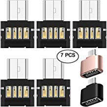 AFUNTA 7 Pcs Mini DM Micro USB 5pin OTG Adapters and Micro USB 2.0 OTG Connector, Micro USB to USB 2.0 Converters for Smartphone Tablet USB Cable Flash Disk - Black, Gold