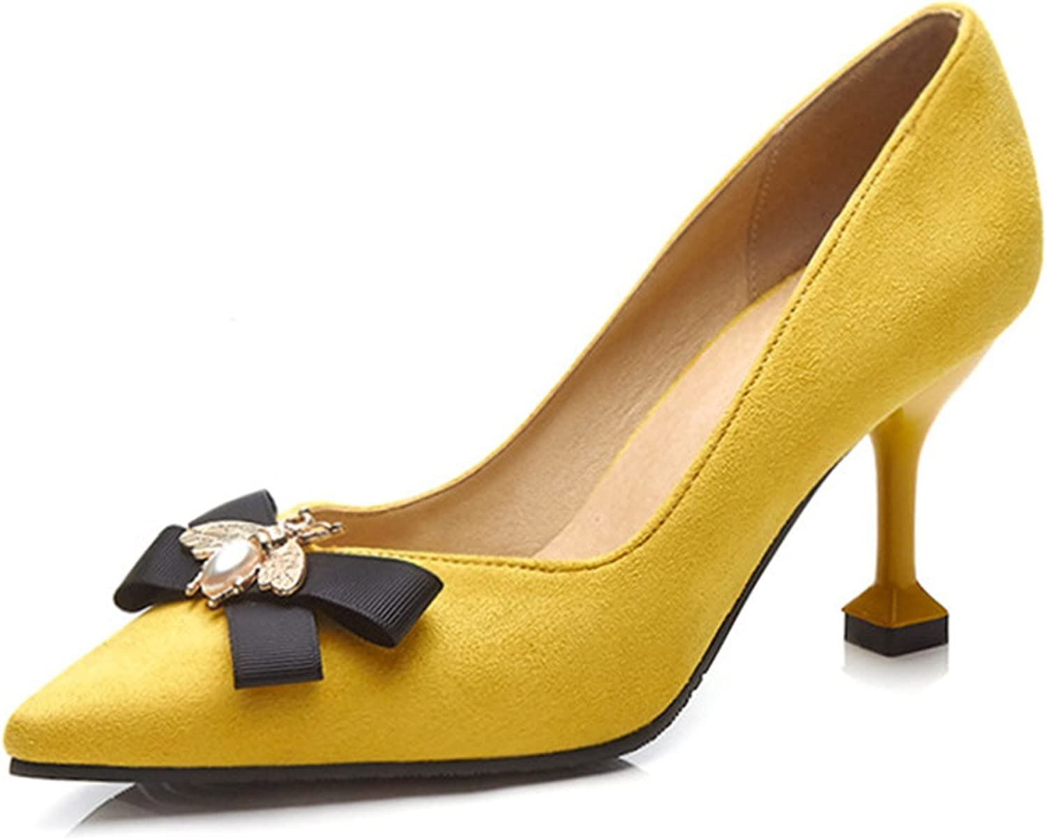 Pumps High Heels Office Lady Kitten Heels Pointed Toe Bow shoes Bee Black Heels Female shoes Spring Big Size 33-46