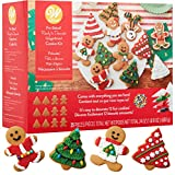 Gingerbread Man Kit, Holiday Fun Baking Set - Includes: 8 Pre-Baked Cookies, Tons Of Candies, Green Fondant, 3 Colors Icing, Decorating Bags & Tip, Bundled With Fun Holiday Stickers