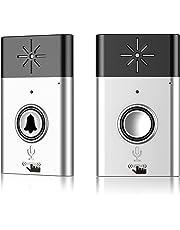 ワイヤレスチャイム EIVOTOR 会話機能 双方向音声 インターホン チャイムセット 最高200Mの無線範囲 玄関 電池式 受信機+送信機 家庭/居酒屋/介護/店舗/レストラン用 音量調節可 LED シルバー