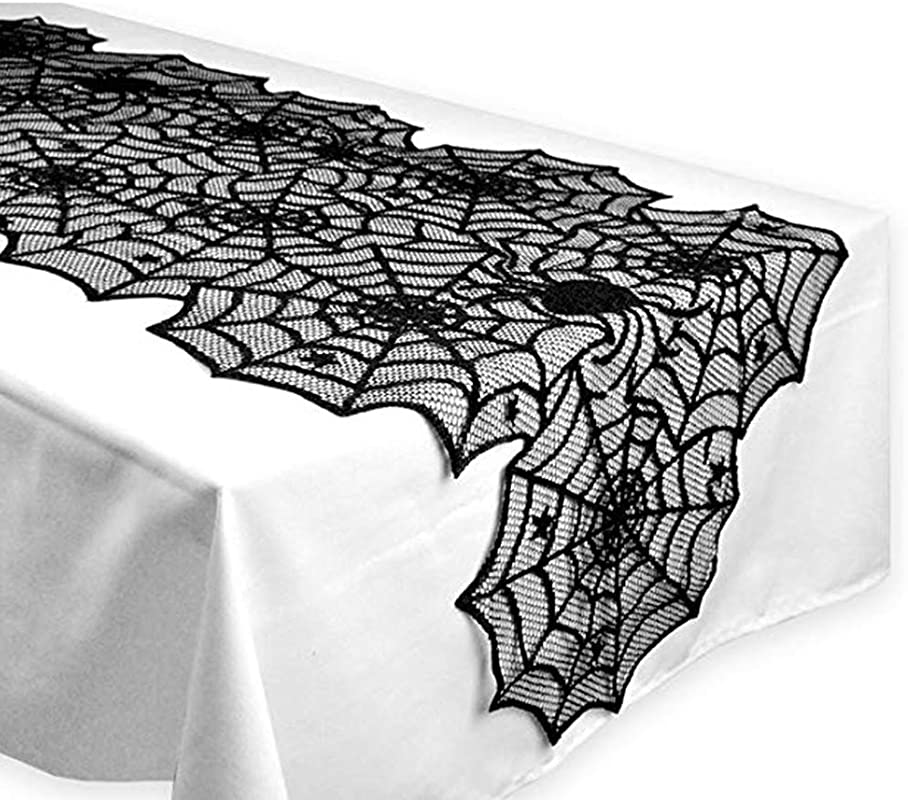 Numola Halloween Table Runner Tablecloths Rectangle 18 X72 Black Spider Web Polyester Fabric Tablecloth For Halloween Party Decoration