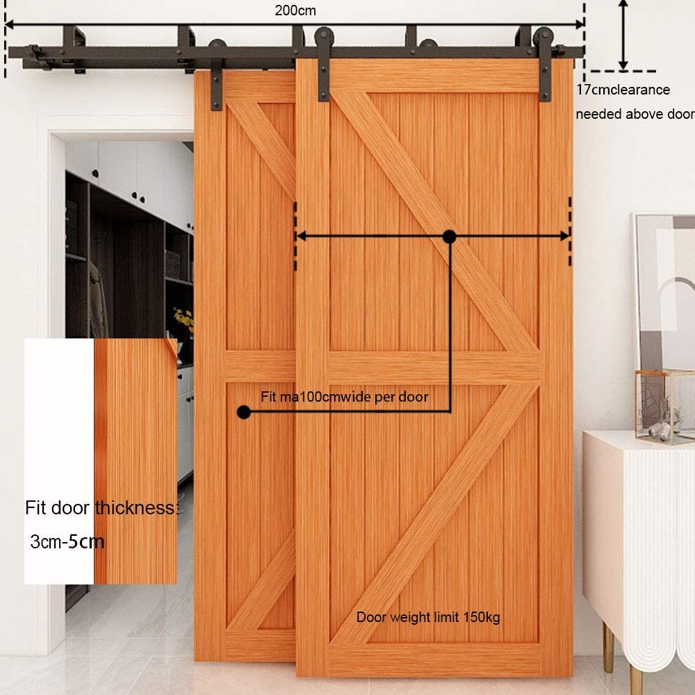 CCJH 4FT-122cm Schiebetuer Laufschiene Rollen Set Schiebet/ürbeschlag Bypass 2 t/üren Sliding Barn Door Hardware Kit