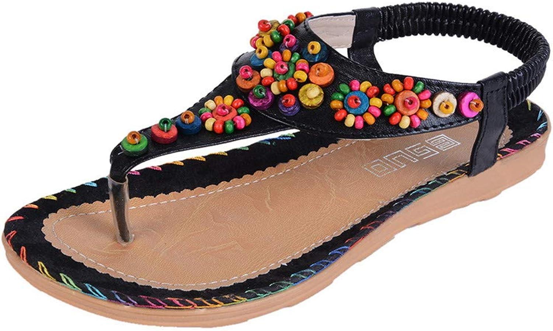 Bohemian Ethnic Sandals Summer shoes Floral Flower Flip Flops Women Casual Flats Elastic Sandals